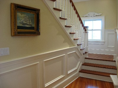 Interior Custom Carpentry: Staircase and Wainscoting