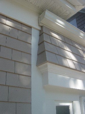 Detail of exterior trim work during construction.